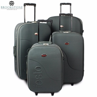 "Brookstone Festorrific Travel Luggage Set of 4 Size(20""/24""/28""/32"") - Gray Price Philippines"