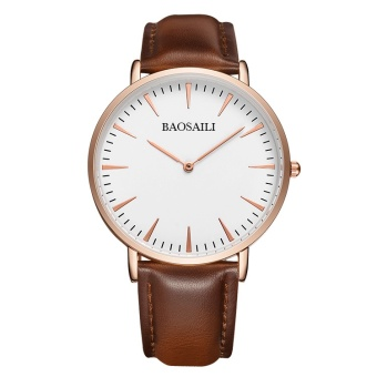 BSL1051 BAOSAILI Slim Dial Genuine Leather Strap Men Watch Japan Movement Water Resistant Life Quality Quartz Watch for Men 1051 - intl