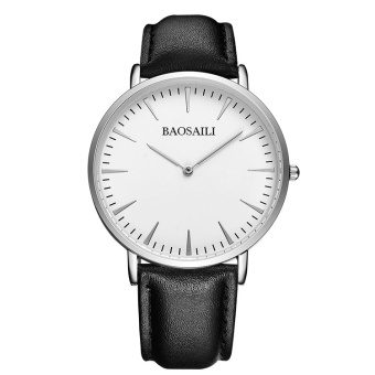 BSL1051 BAOSAILI Slim Dial Genuine Leather Strap Men Watch JapanMovement Water Resistant Life Quality Quartz Watch for Men 1051 -intl