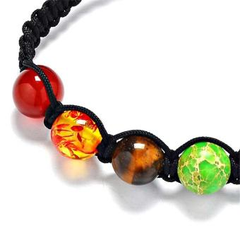 Buddha Beaded Bracelets Arm Cuff Color Stone Lava 7 Chakra HealingAmethyst Agate Charm Bracelets Bangles for Women Men - intl - 4