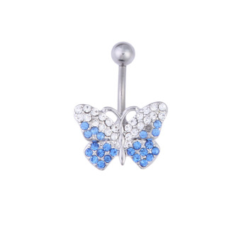 Butterfly Rhinestone Shinning Style Barbell Belly Button Ring Body Piercing