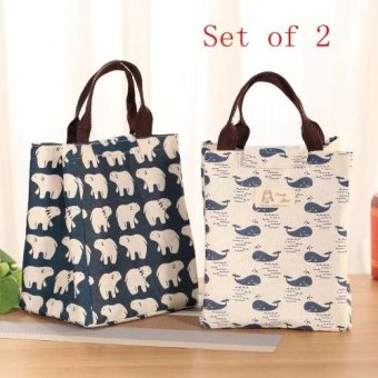 Buy 1 Get 1 Cotton Garment Bag Lunch Bags Portable Insulated IceBag(Bear and Fish)