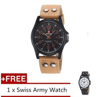 (Buy 1 Get 1 Free) Swiss Army Men's Watches Leather Strap Watch Black Light Brown + Free Swiss Army Watch Black White - intl