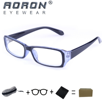 [Buy 1 Get 1 Freebie] AORON Brand New Style Anti-radiation Reading Glasses Anti-fatigue Computers Glasses Gold Film Eyeglasses 21007(Black-Blue) - intl