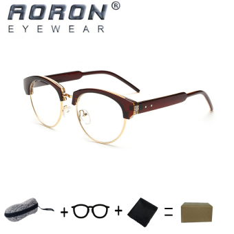[Buy 1 Get 1 Freebie] AORON Brand Retro Reading Glasses Anti-fatigue Computers Glasses Anti-blue Light Eyeglasses 8815(Tea) - intl