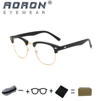 [Buy 1 Get 1 Freebie] AORON Brand Retro Reading Glasses Anti-radiation Computers Glasses Anti-blue Light Eyeglasses 5162(Sand Black) - intl