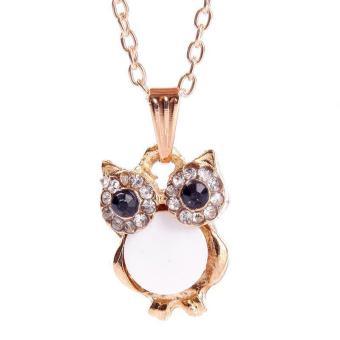 BUYINCOINS Elegant Women Rhinestone OWL Pendant Shell Long Chain Necklace Jewellery Gift (White)