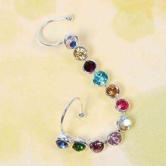 BUYINCOINS Fashion Women Charm Bling Jewelry Earring Crystal Leaf Ear Cuff Clip Ear Stud