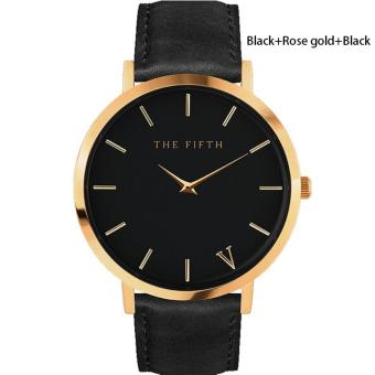 BUYINCOINS The Fifth Brand Women Men Casual Simple Quartz AnalogWatch Gold Leather Band Wrist Watches - intl Price Philippines