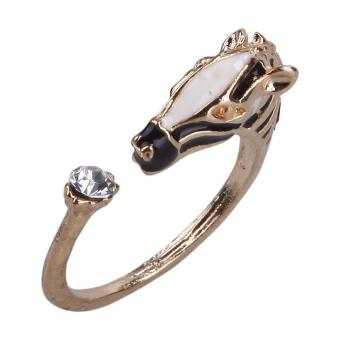BUYINCOINS Women Animal Year Horse Head Crystal Gold Adjustable Ring Fashion Jewelry - picture 2