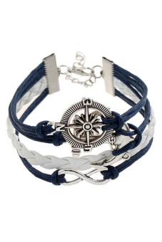 Buytra Charm Bracelet Anchor Faux Leather Silver Plated DIY Navy - picture 2