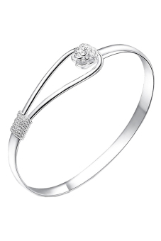 Buytra Circle Flower Rose Cuff Bangle Bracelet Simple Silver