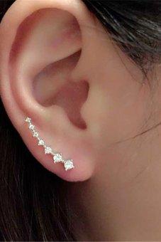 Buytra Women Crystal Earrings Rhinestone Silver