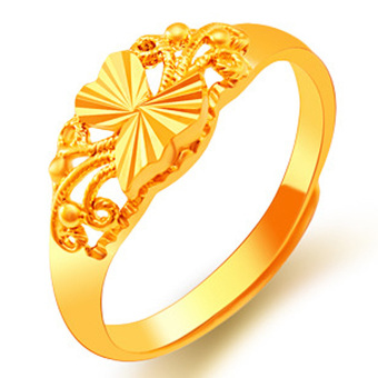 CADIS 24K GOLD With The True Gold Plated Delicate Wedding Free SizeRing - intl