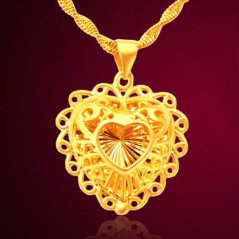 CADIS 24K Gold With The True Gold Plated Romantic Heart LadiesNecklace - intl