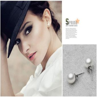 Candy Online 10MM Silver Freshwater Pearl Stud Earrings JewelryED029