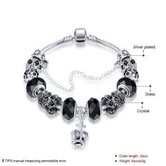 Candy Online Europe Trendy Silver Pandora Charm Bracelet Crystal Bracelet PDRH045 (Black) - 3