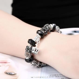 Candy Online Europe Trendy Silver Pandora Charm Bracelet Crystal Bracelet PDRH045 (Black) - 4