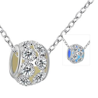 Candy Online Fashion Women's Silver Luminous Round Beads DiamondPendant Necklace Jewelry YGN081-C (Navy blue)