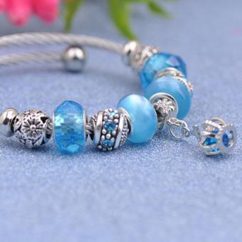 Candy Online Korea 925 Stainless Steel Silver Pandora Charm Crystal Bracelet PDA-167 - 3