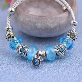 Candy Online Korea 925 Stainless Steel Silver Pandora Charm Crystal Bracelet PDA-167 - 4
