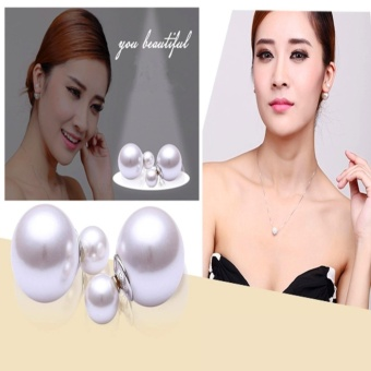 Candy Online Korea Silver Double Pearl Stud Earrings Jewelry ED034