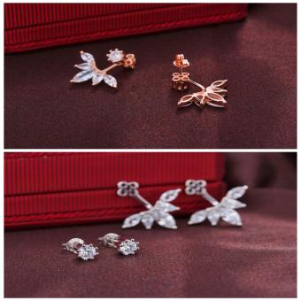 Candy Online Korean Post-hanging Zircon Stud Earrings JewelryED216(Rose Gold) - 5