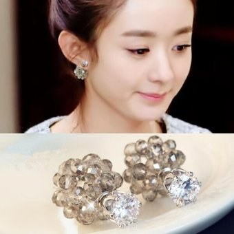 Candy Online Silver Korea Crystal Zircon Double-sided Stud Earrings E468 (Brown)