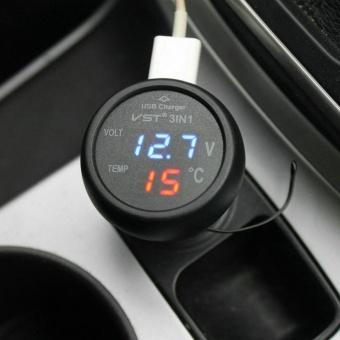 Car 12V 24V Blue LED Voltmeter & Red LED Thermometer & USBCharger - intl - 4