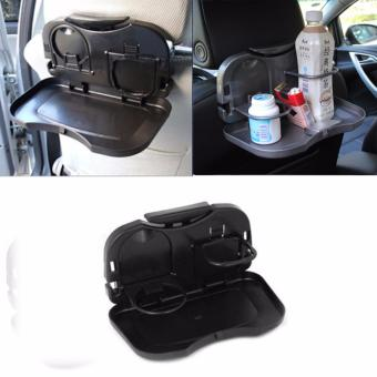 Car Auto Back Seat Folding Foldable Table Drink Storage Holder Food Cup Tray Stand (Black)