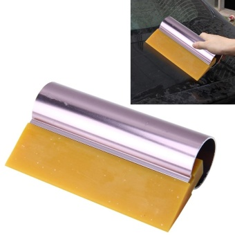 Car Auto Body Surface Window Wrapping Film Yellow Rubber ScraperSticker Tool Black With Pink Metal Handle - intl