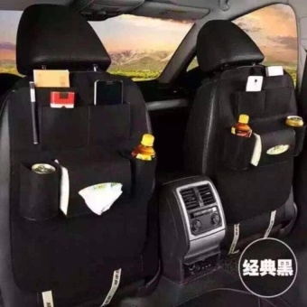 Car Auto Seat Back Multi Pocket Storage Bag Organizer (Black)