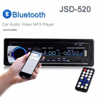 Car FM Bluetooth Stereo Audio MP3 Player Radio 1 Din In-dash FM Receiver Handfree Call with USB/SD/MMC Input 12V JSD-520 - intl