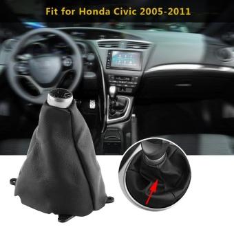 Car Manual PU Leather Gear Gaiter Shift Shifter Boot Replacementfor Honda Civic 2005-2011 - intl - 3