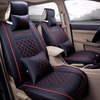 Car Seat Covers, PU Leather, Front and Rear Row Full Set for 5 Seats Vehicle,for Full Seasons-Black and Red Size M - intl