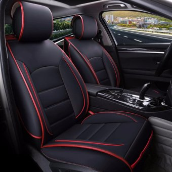 Car Seat Covers,PU Leather,5 Seat Full Covers,All Seasons,for Most Car,SUV,Standard-Black and Red - intl