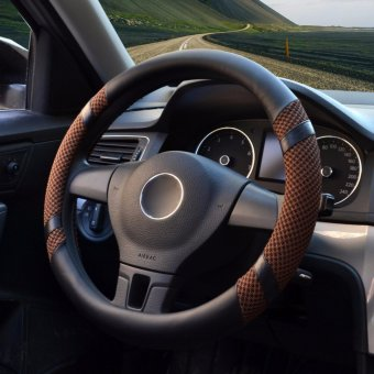 Car Steering Wheel Covers,Diameter 15 inch,PU Leather,for Summer,coffee M - intl