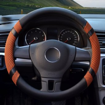 Car Steering Wheel Covers,Diameter 15 inch,PU Leather,for Summer,orange S - intl