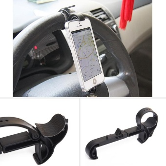 Car Steering Wheel Mobile Phone Mount Holder Buckle Socket For Cellphone Gps - intl
