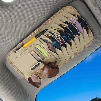 Car Sun Visor CD DVD Disc Storage Fix Pouch Bag Holder Case (Cream)- intl