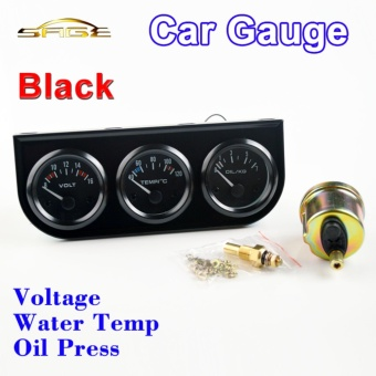 "Car Triple Guage Kit 52mm 2"" Voltage + Water Temperature + OilPress Gauges Black Bezel 3-In-1 Car Meters Dashboard - intl Price Philippines"