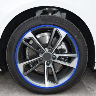 Car Wheel Hub Rim Edge Protector Tire Guard Sticker Rubber Strip(Blue) - intl