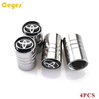 Car Wheel Tire Valves Tyre Stem Air Caps Cover case emblem auto accessories Car-stying Stainless Steel 4pcs/set - intl