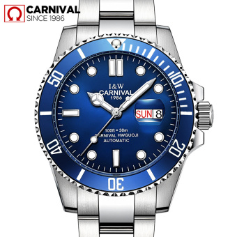 Carnival men stainless steel waterproof watch automatic watch
