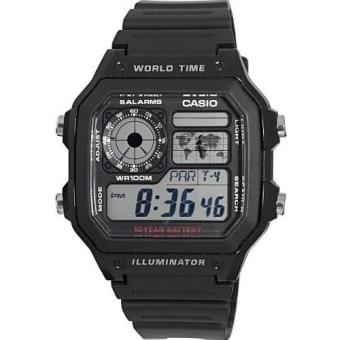 Casio Black Rubber Strap Men's Watch AE-1200WH-1AVDF