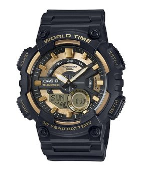 Casio Black Rubber Strap Men'S Watch Aeq-110Bw-9Avdf