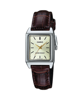 Casio Brown Leather Strap Women'S Watch Ltp-V007L-9E