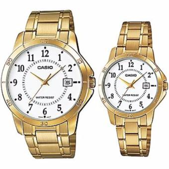Casio Couple Pair Gold Watch Big Face MTP-V004G-7B LTP-V004G-7B