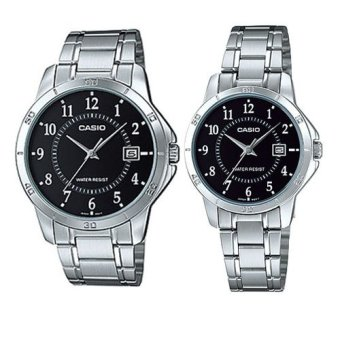 Casio Couple Pair Silver Stainless Steel Strap Watch MTP/LTP-V004D-1BUDF