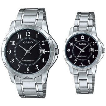 Casio Couple Silver Stainless Steel Strap Watch MTP/LTP-V004D-1